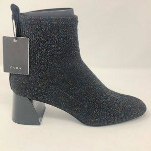 ZARA Glitter SockStyle High Heel Boots Size 7 1/2
